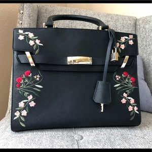 Calvin Klein black embroidered purse